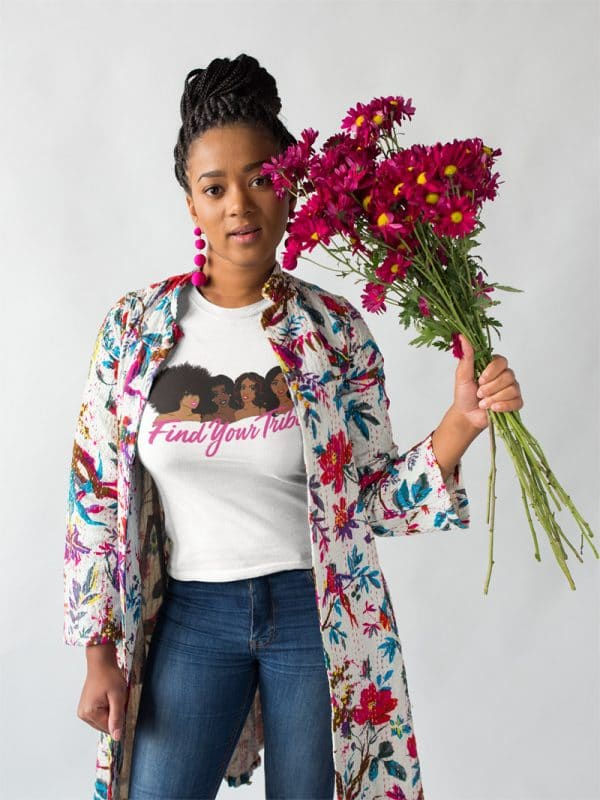 round neck tee mockup of a woman wearing a long floral jacket