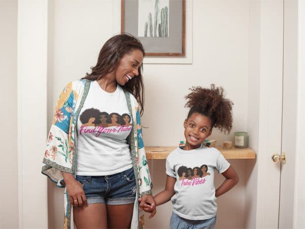 t shirt mockup of a happy girl at home with her mom