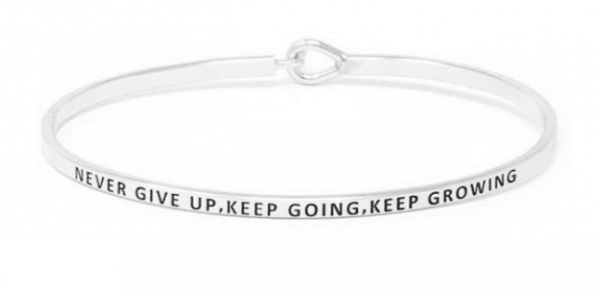 Never Give Up, Keep Going, Keep Growing: 16mm Bracelet - Affirmation Jewelry
