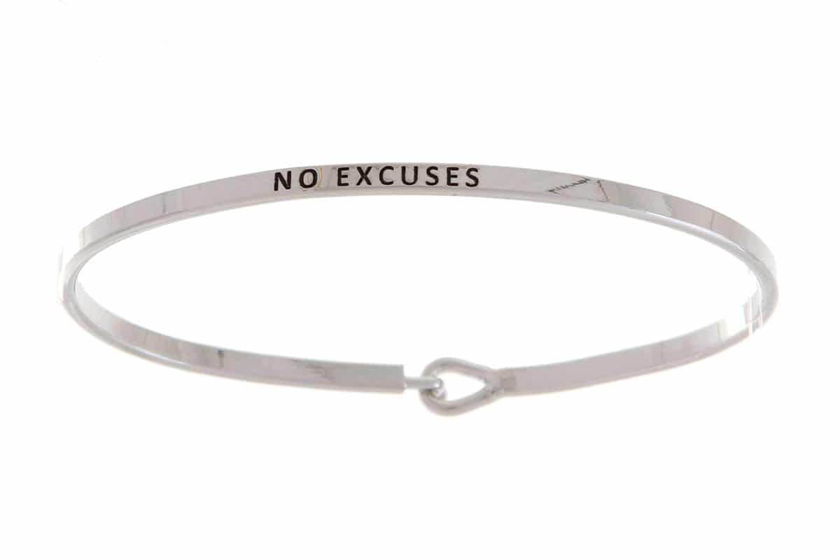 No Excuses: 16mm Bracelet - Affirmation Jewelry