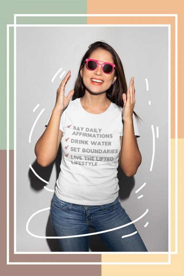 t shirt mockup featuring a smiling girl with sunglasses