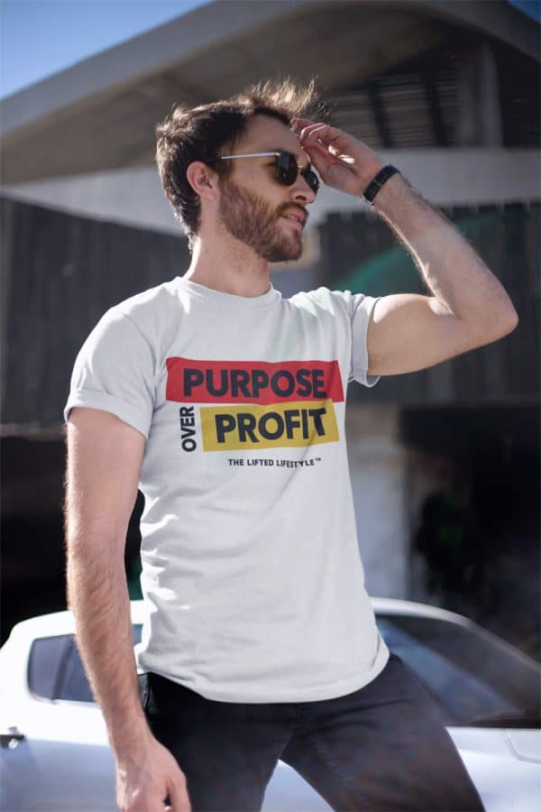 t shirt mockup of a handsome man wearing sunglasses