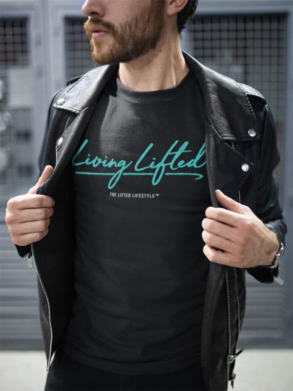 t shirt mockup of a man wearing a leather jacket on the street