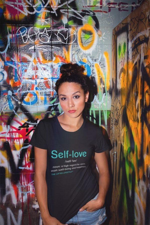 tshirt mockup of a girl in a bathroom with graffiti