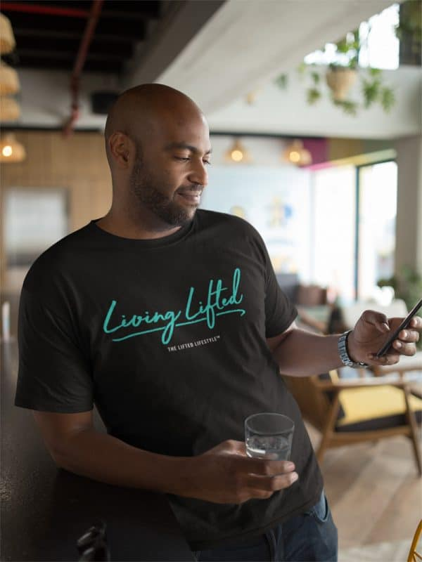 tshirt mockup of a man using his phone at a restaurant 21703jpg 800px 1