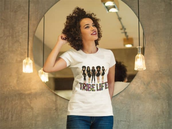 woman standing in front of a mirror t shirt mockup a8337jpg 800px 1